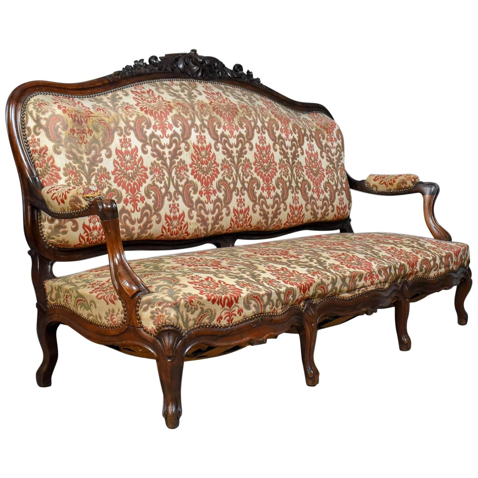 Victorian Antique Settee, Rosewood, English, Three Seat Sofa, Circa 1850