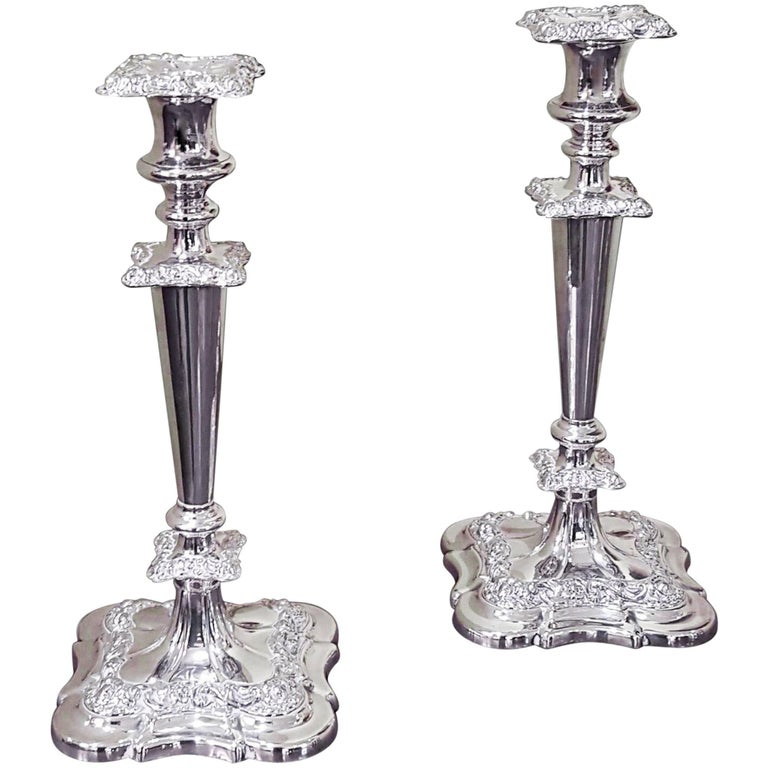 Pair of Late 19th Century Silver Plated Candelabra For Sale