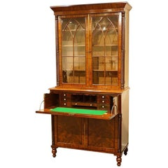 William IV Mahogany Secretaire Bookcase
