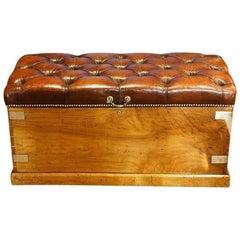 Victorian Leather Camphorwood Ottoman