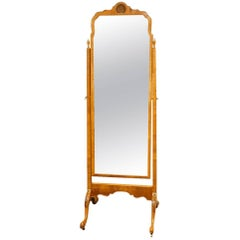 Walnut 1920s Cheval Dressing Mirror