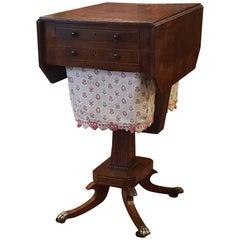 Regency Rosewood and Brass Inlaid Pemroke Work Table