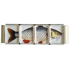 Piero Fornasetti Ceramic Fish Appetizer Hors D'oeuvre Tray, Pesces, 1960s