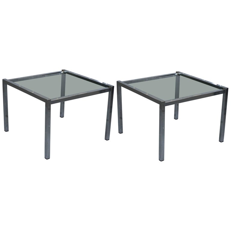 Pair Of Chrome Framed Smoked Glass Top Mid Century Modern Side Tables Lovely For