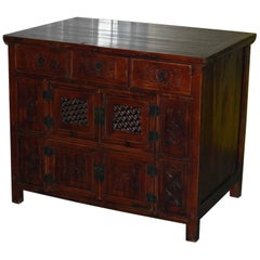 Chinese Redwood Antique Style Very Deep Sideboard Drawers Entertainment Stand