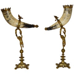 Antique Cornucopia Buffalo Horns Mounted with Gilt Bronze Putti