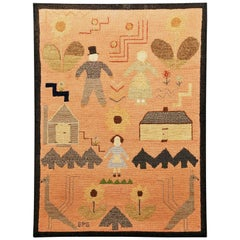 American Folk Art Pictorial Hooked Rug, Mounted on Stretcher, Late 19th Century