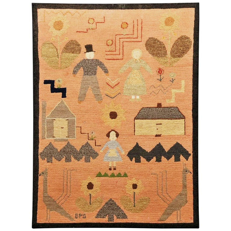 American Folk Art Pictorial Hooked Rug, Mounted on Stretcher, Late 19th Century For Sale