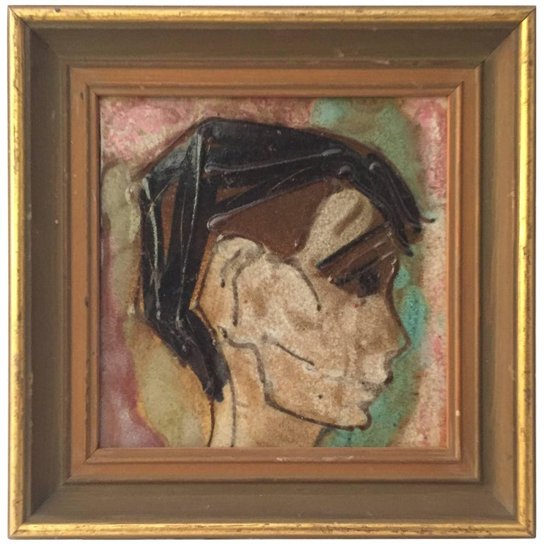 1950s Young Man Profile Portrait Tile in the Manner of Harris Strong