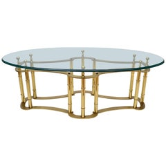 Mastercraft Brass Coffee Table with Oval Glass Top