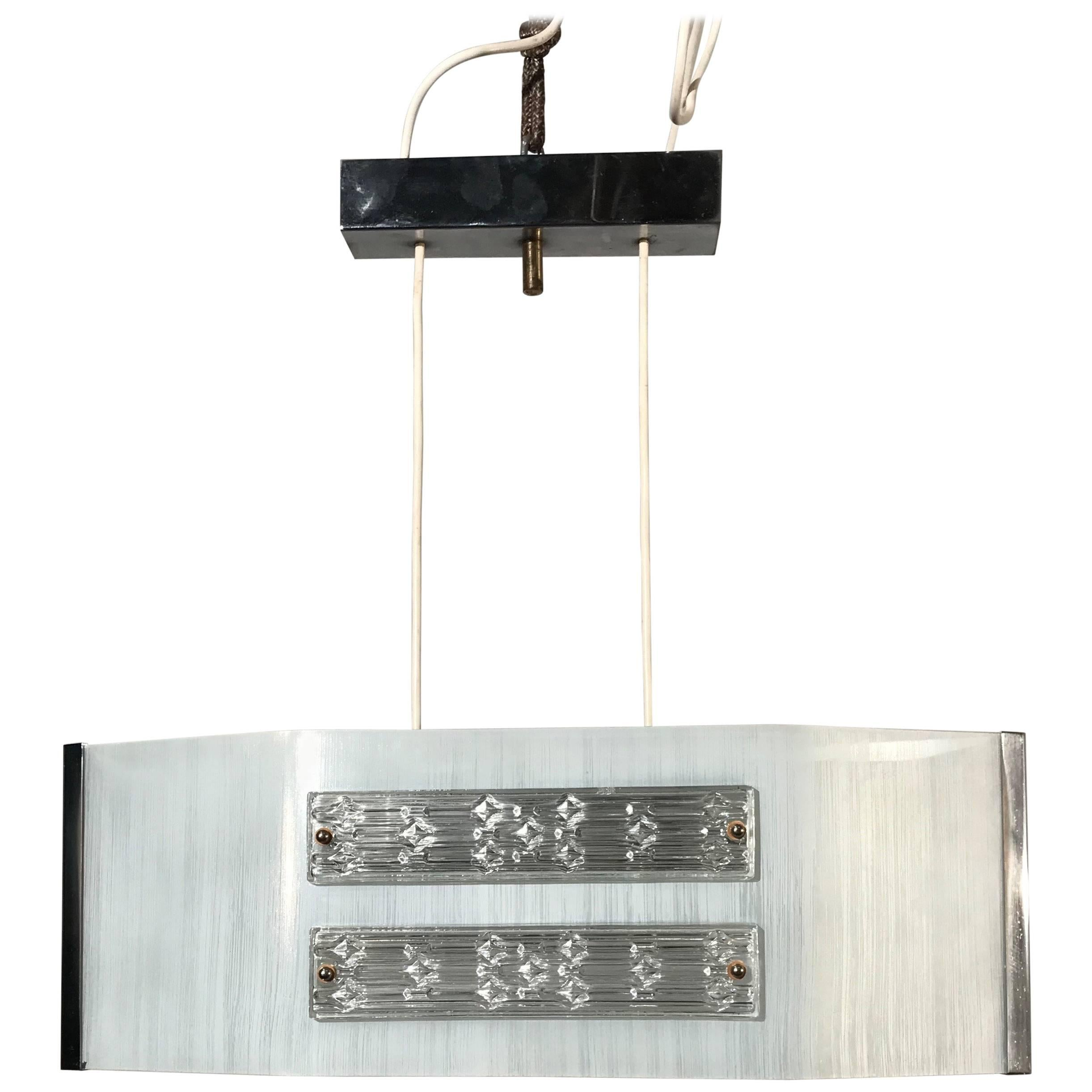 Rectangular Ceiling Lamp In Brass And Polycarbonate Gems For Sale