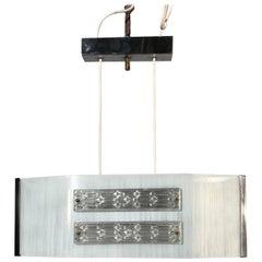 Rare Midcentury, Modernist Brass Chrome and Art Glass Pendant or Ceiling Lamp