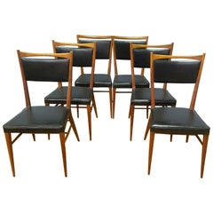 Paul McCobb Set of Six Walnut Dining Chairs, Made for H. Sacks & Sons