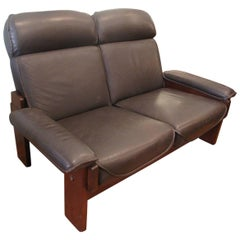 High Back Leather Loveseat