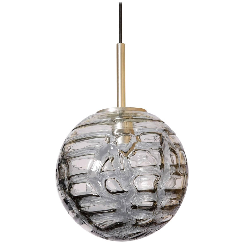Brass and Smoke Glass Globe Chandelier at 1stdibs