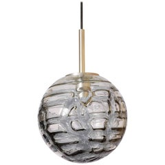 Mid Mod Modern Doria Patterned Smoke Toned Glass Globe Pendant, 1960s