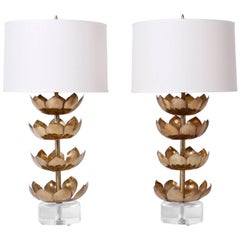 Pair of Lotus Leaf Table Lamps on Lucite Bases
