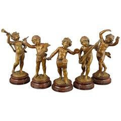 "Set of Five Bronze Sculptures ""Musicians"" Attributed Auguste Moreau"