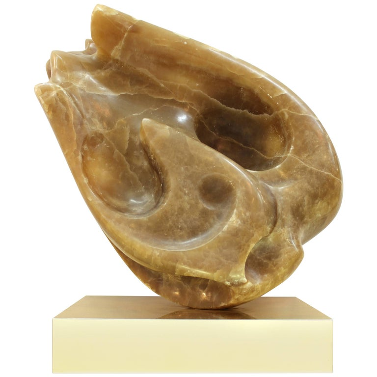 Modernist Abstract Carved Onyx Sculpture on Brass Base