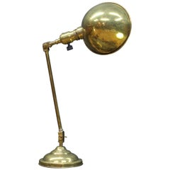 Early 1900s Victorian Brass Hooded Articulate Switchboard Table Lamp