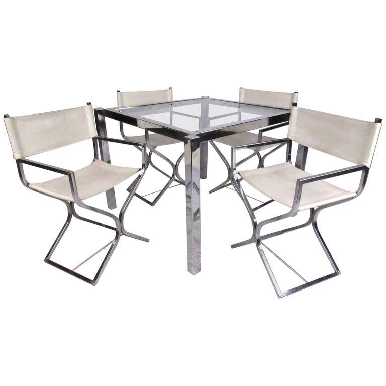 Chrome Dining Room Sets: Stylish Vintage Modern Chrome Dinette Set For Sale At 1stdibs