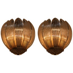 Pair of Tulip Shaped Crystal Wall Sconces Attributed to Baguès