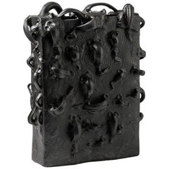 Ceramic Vase with Black Glaze by Michel Lanos, circa 1980-1990