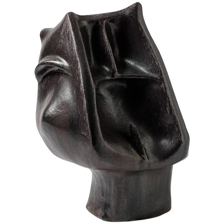 Ceramic Sculpture with Black Glaze Decoration by Michel Lano, circa 1980-1990