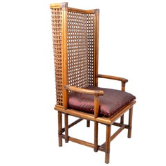 Vintage Bamboo and Cane Chinese Chinoiserie Style High Back Chair