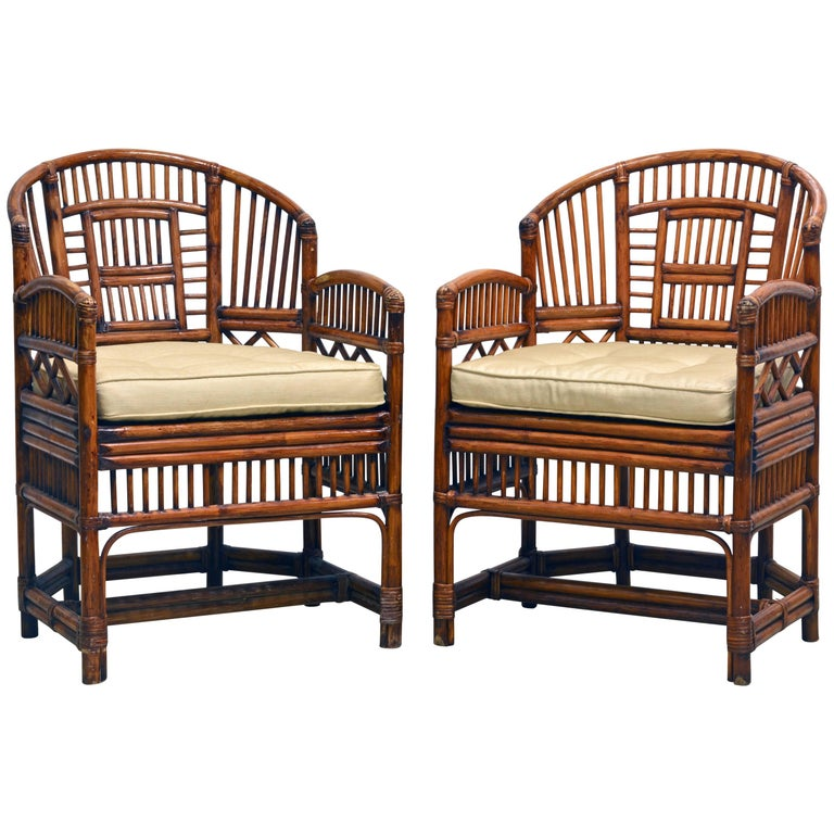 Pair of Vintage Brighton Pavilion Style Chinoiserie Chippendale Bamboo Armchairs For Sale