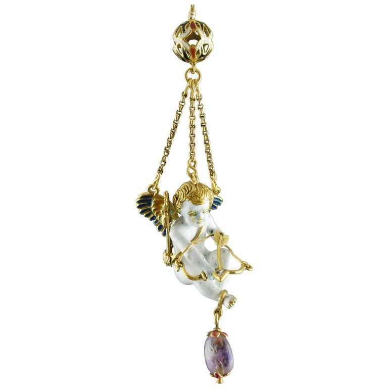 Cupid Pendant, Gold, Stones, Enamel, 17th Century For Sale