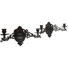Pair of Art Nouveau Candle Sconces, Bronze Finish Art Nouveau Sing Arm Sconces
