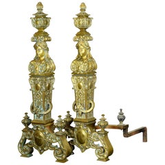 Pair of Bronze Andirons, France, 19th Century