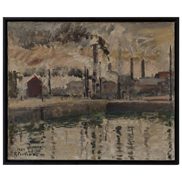 French Vintage Black Framed Smokestack Painting For Sale
