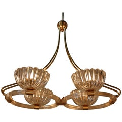 Italian Glass and Bronze Chandelier by Barovier e Toso