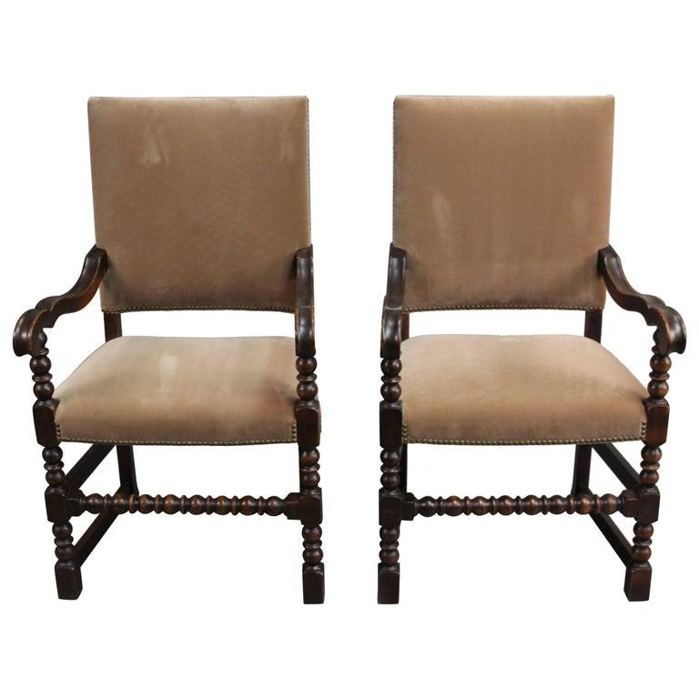Pair of 1920s Walnut Armchairs
