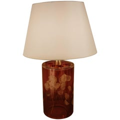 Lucite with Leaf Inclusion Table Lamp by Romeo Paris