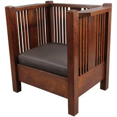 Arts & Crafts Prairie Style Cube Chair with Spindles, circa 1910