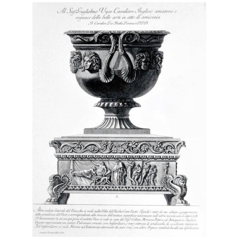Framed Etching of a Massive Urn by Piranesi, Plate 549