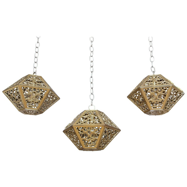Trio Pierced Brass Asian Hexagon Shaped Ceiling Pendant Lights