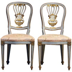 Lovely Pair of Louis XV Inspired Italian Gilt and Grey Paint Salon Chairs