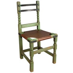 Rancho Monterey Green Side Chair with Iron Straps and Leather Upholstery
