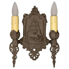 1 of 3 Antique Double Sconce With Galleon Motif