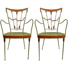 Pair of Tomaso Buzzi Wrought Iron Armchairs
