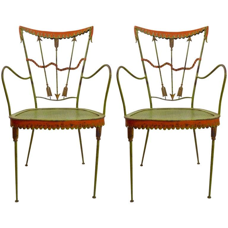 Pair of Tomaso Buzzi Wrought Iron Armchairs