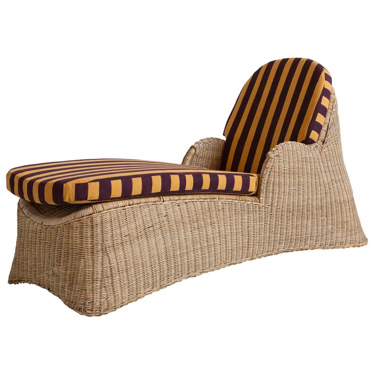 Wicker Chaise Newly Upholstered in Lisa Corti Purple and Yellow Striped Fabric