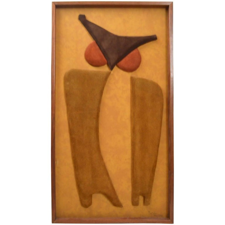 Stylized Owl Wall Hanging in Suede Trapunto