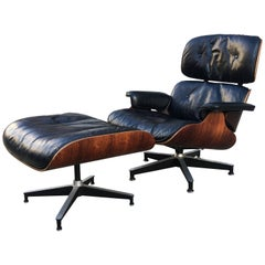 Early 1960s Down Filled Herman Miller Eames Lounge Chair and Ottoman