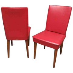 Pair of Anonima Castelli Bologna 1960s Leather Red Italian Mid-Century Chair