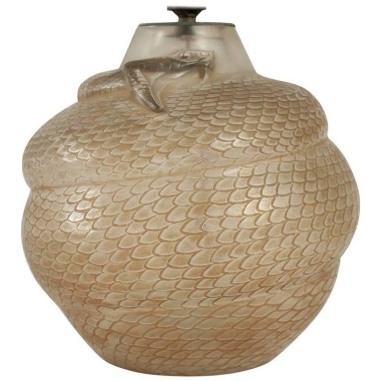 """René Lalique Vase Lamp Serpent """"Réflecteur"""" For Sale"""